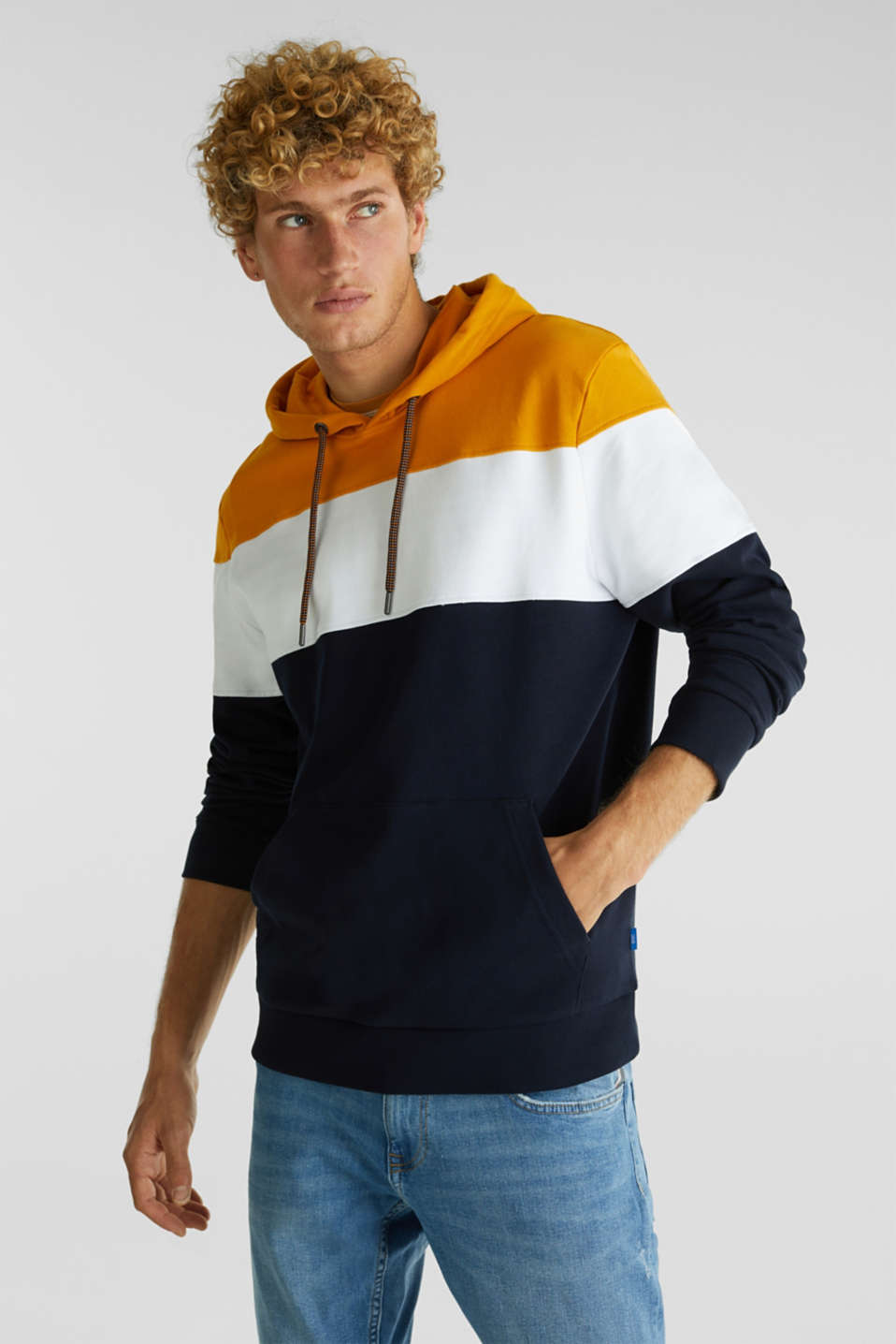 Colour block hoodie in 100% cotton, BRASS YELLOW 2, detail image number 0