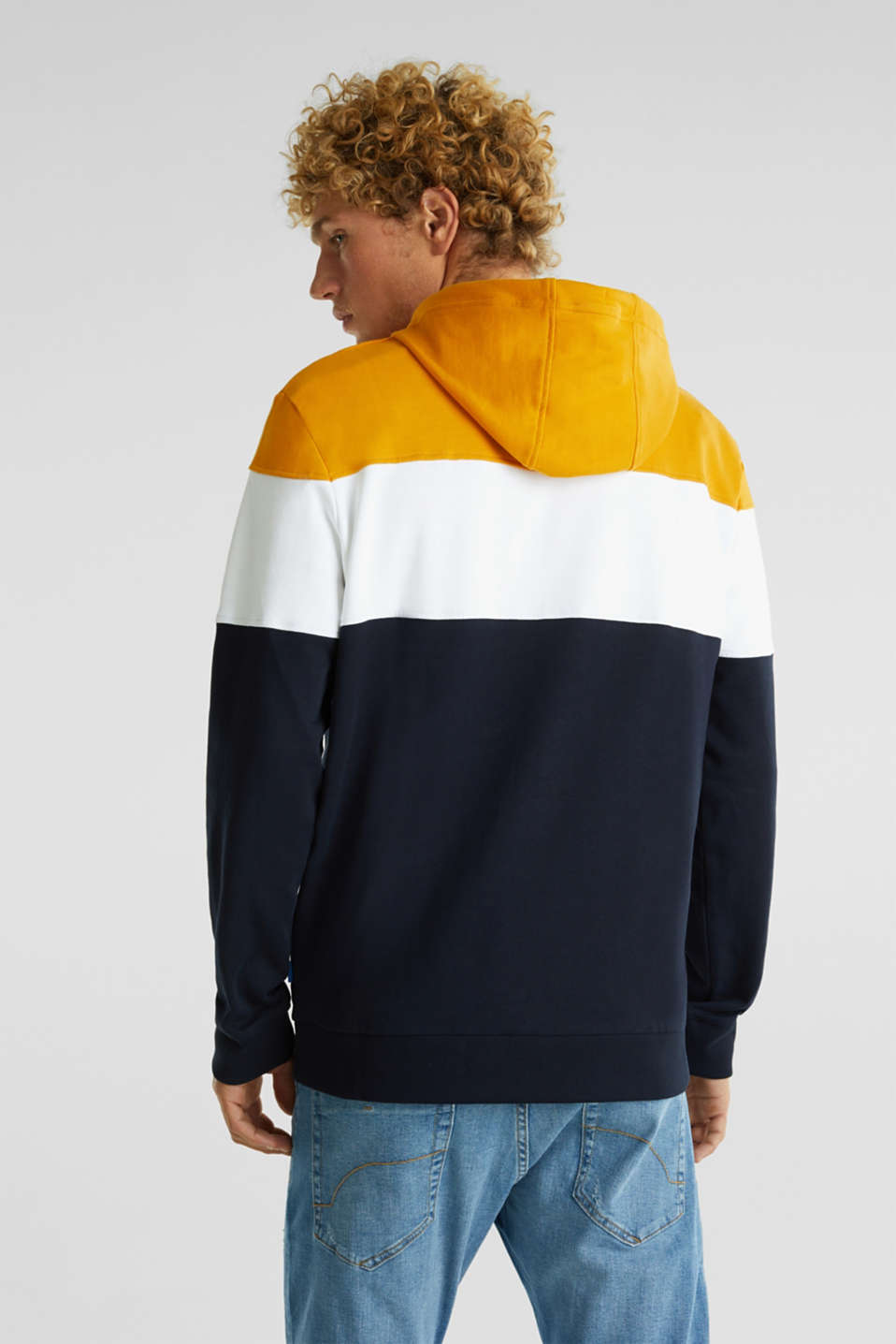 Colour block hoodie in 100% cotton, BRASS YELLOW 2, detail image number 3