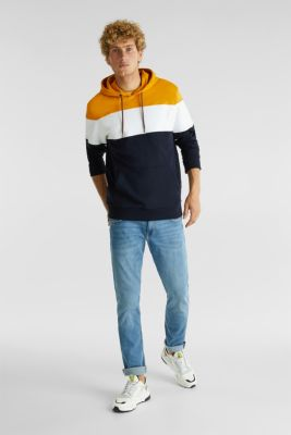 Colour block hoodie in 100% cotton, BRASS YELLOW 2, detail