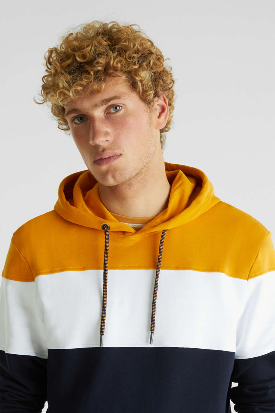 Colour block hoodie in 100% cotton, BRASS YELLOW 2, detail image number 2