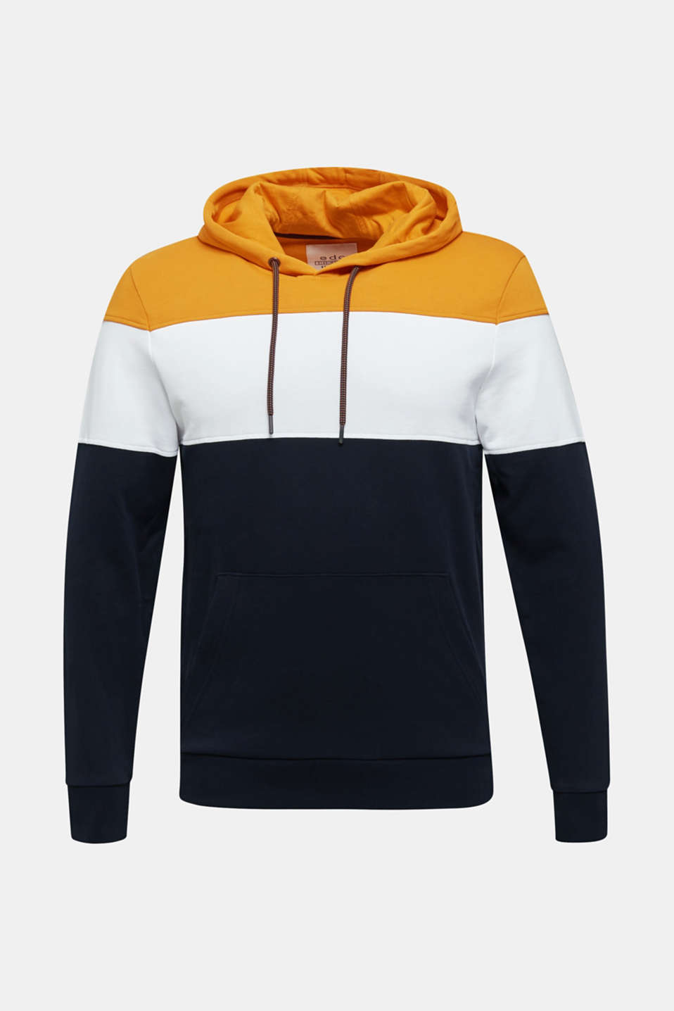 Colour block hoodie in 100% cotton, BRASS YELLOW 2, detail image number 6