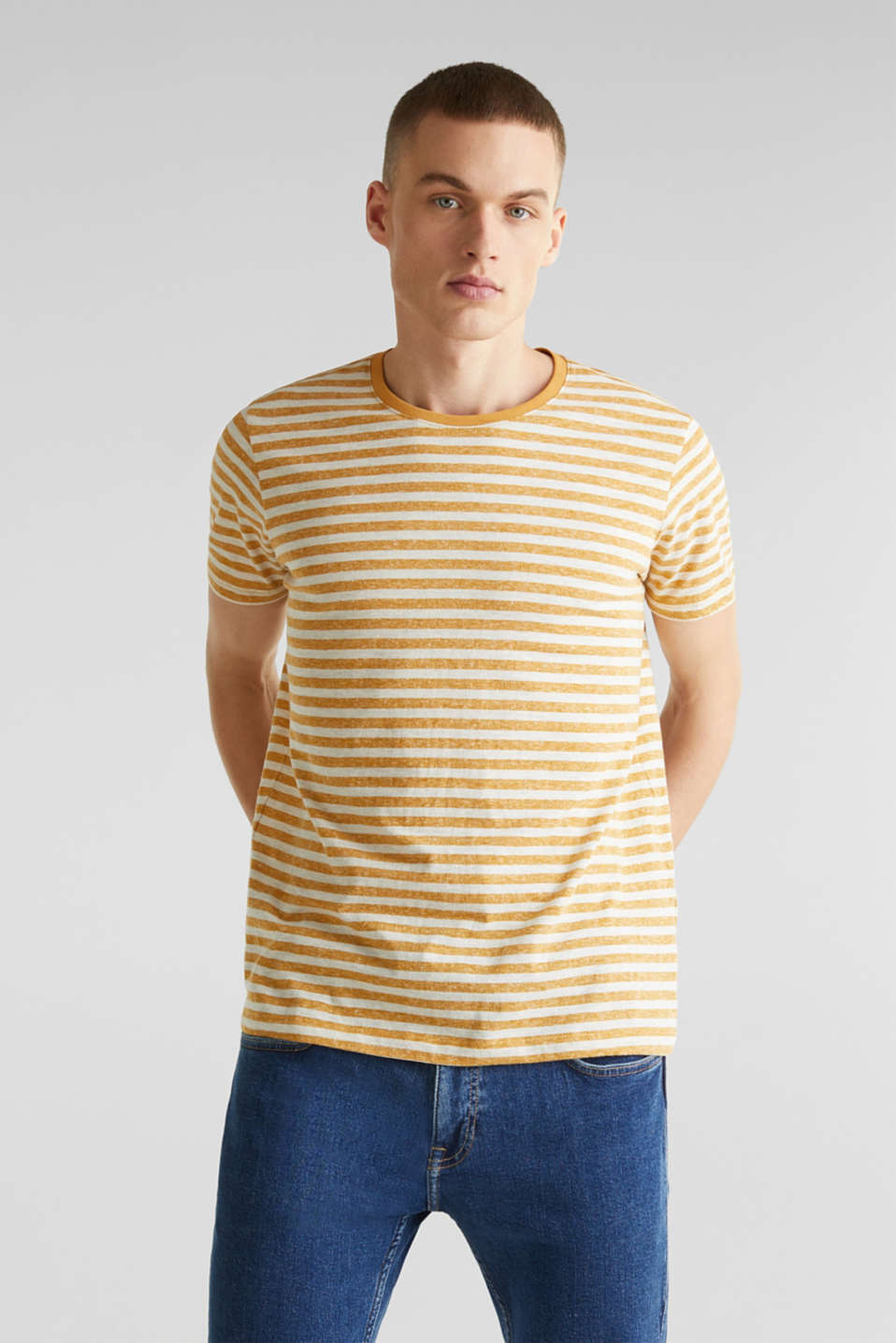 edc - T-shirt in jersey melangiata con righe