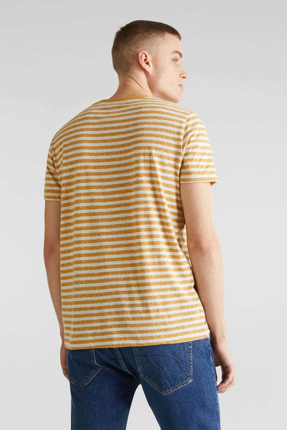 Melange jersey T-shirt with stripes, HONEY YELLOW 3, detail image number 2