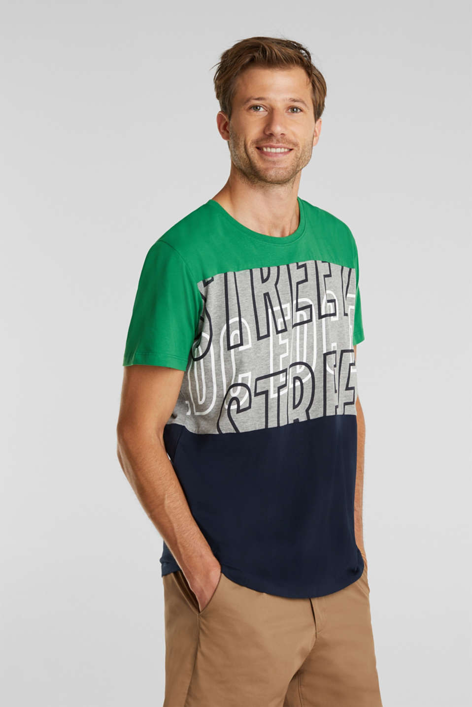 Colour block jersey T-shirt, GREEN 2, detail image number 0