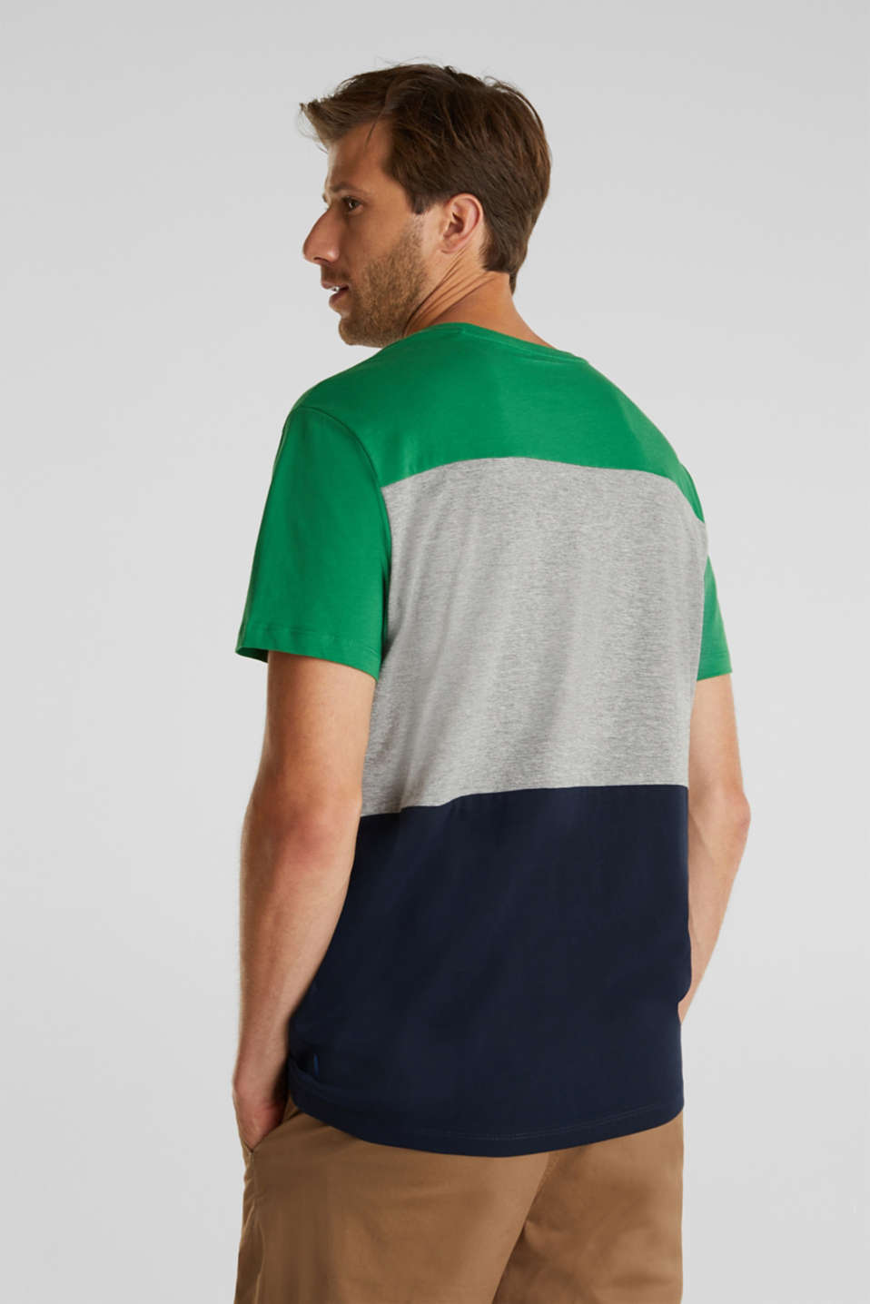 Colour block jersey T-shirt, GREEN 2, detail image number 3