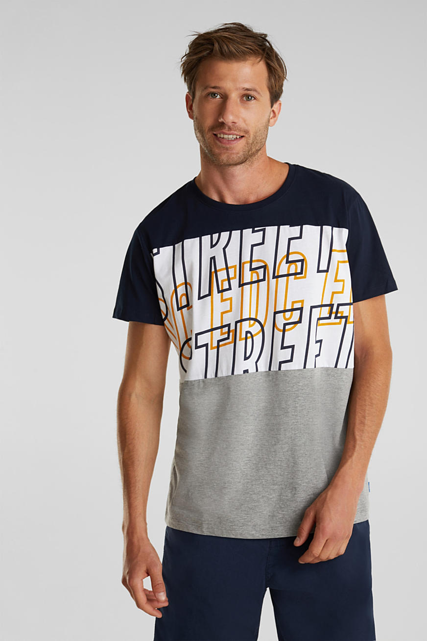 Jersey-T-Shirt im Color Block-Look