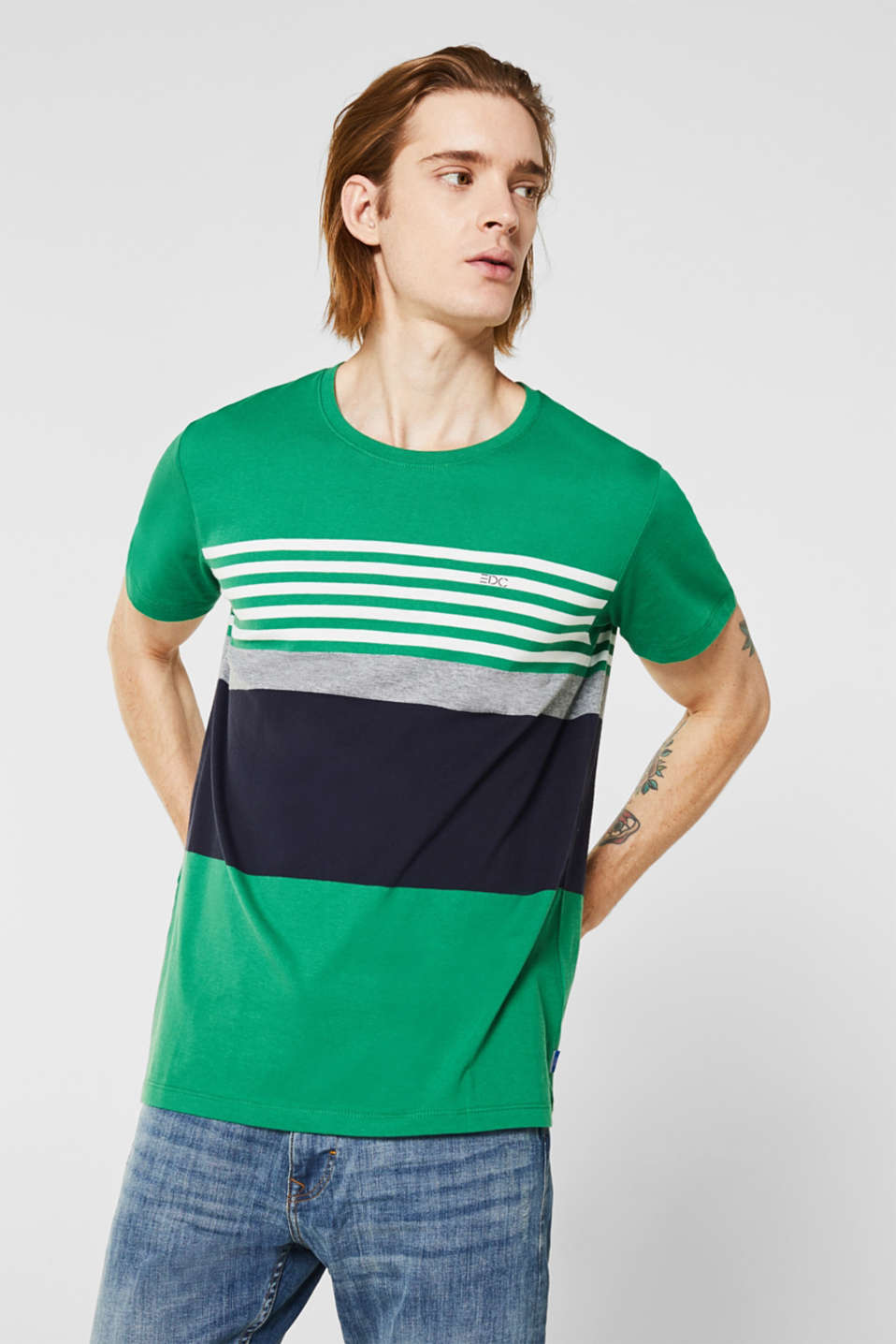 edc - T-shirt en jersey à effet colour blocking