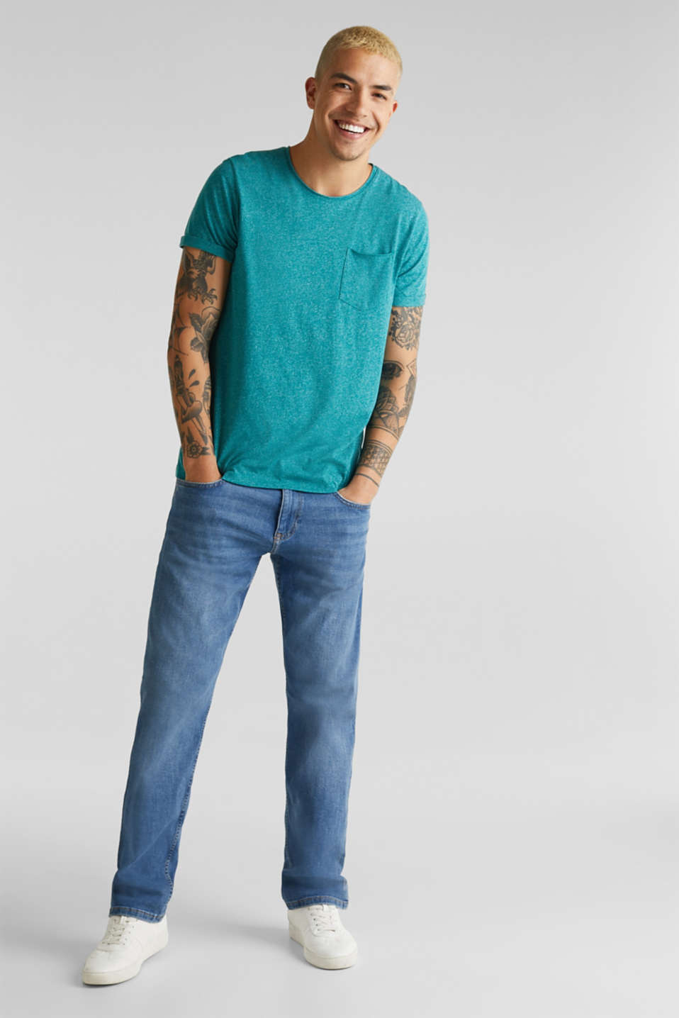 Jersey T-shirt in a casual look, AQUA GREEN 5, detail image number 6