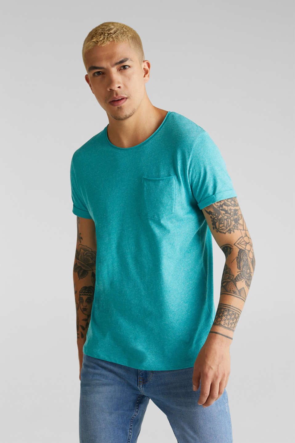 Jersey T-shirt in a casual look, LIGHT AQUA GREEN 5, detail image number 0