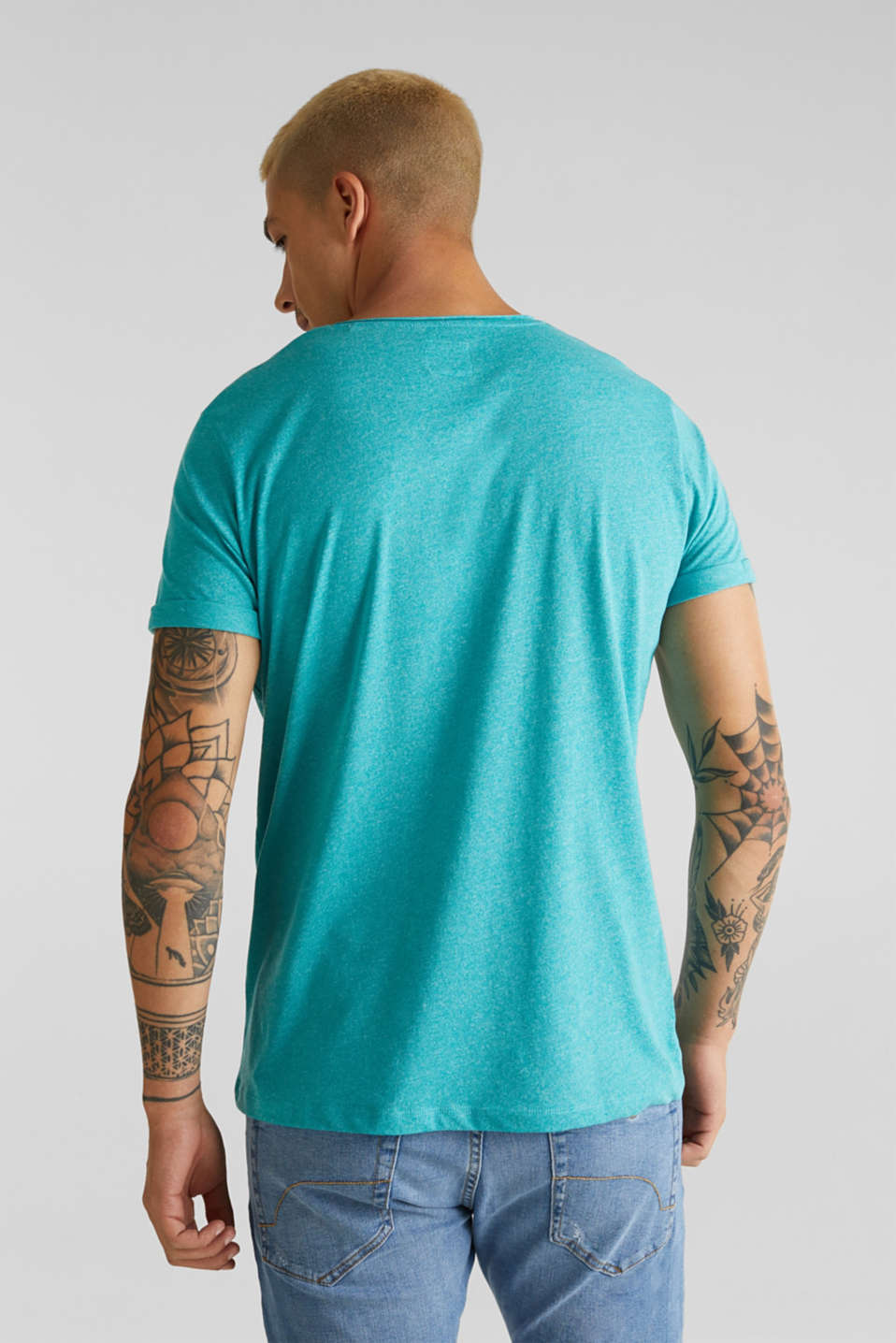 Jersey T-shirt in a casual look, LIGHT AQUA GREEN 5, detail image number 3