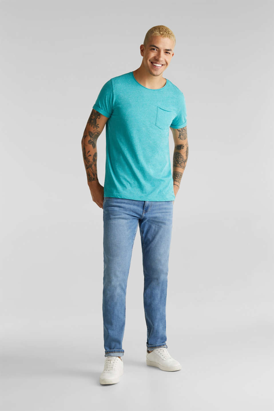 Jersey T-shirt in a casual look, LIGHT AQUA GREEN 5, detail image number 2