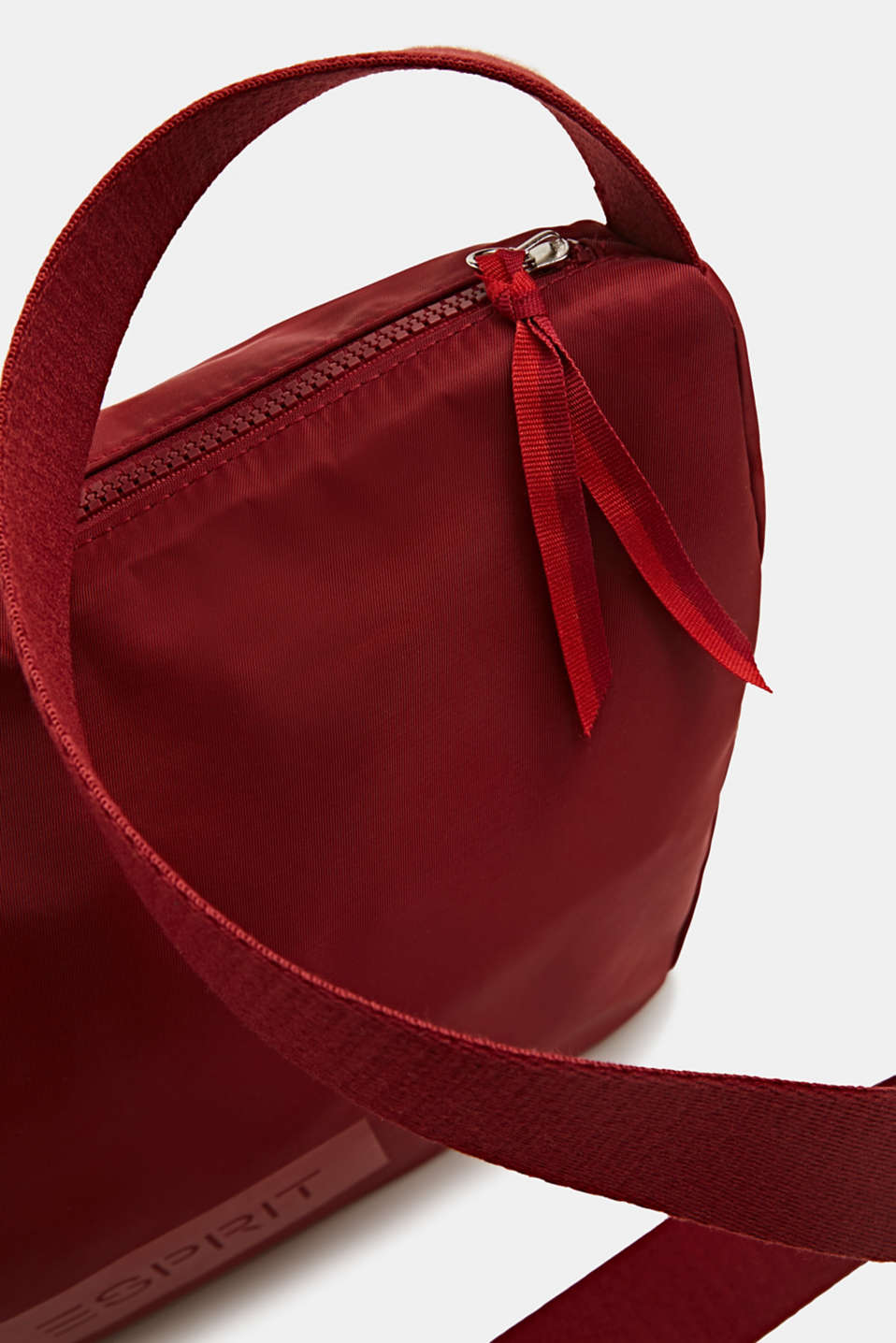 Logo shoulder bag made of nylon, RED, detail image number 3