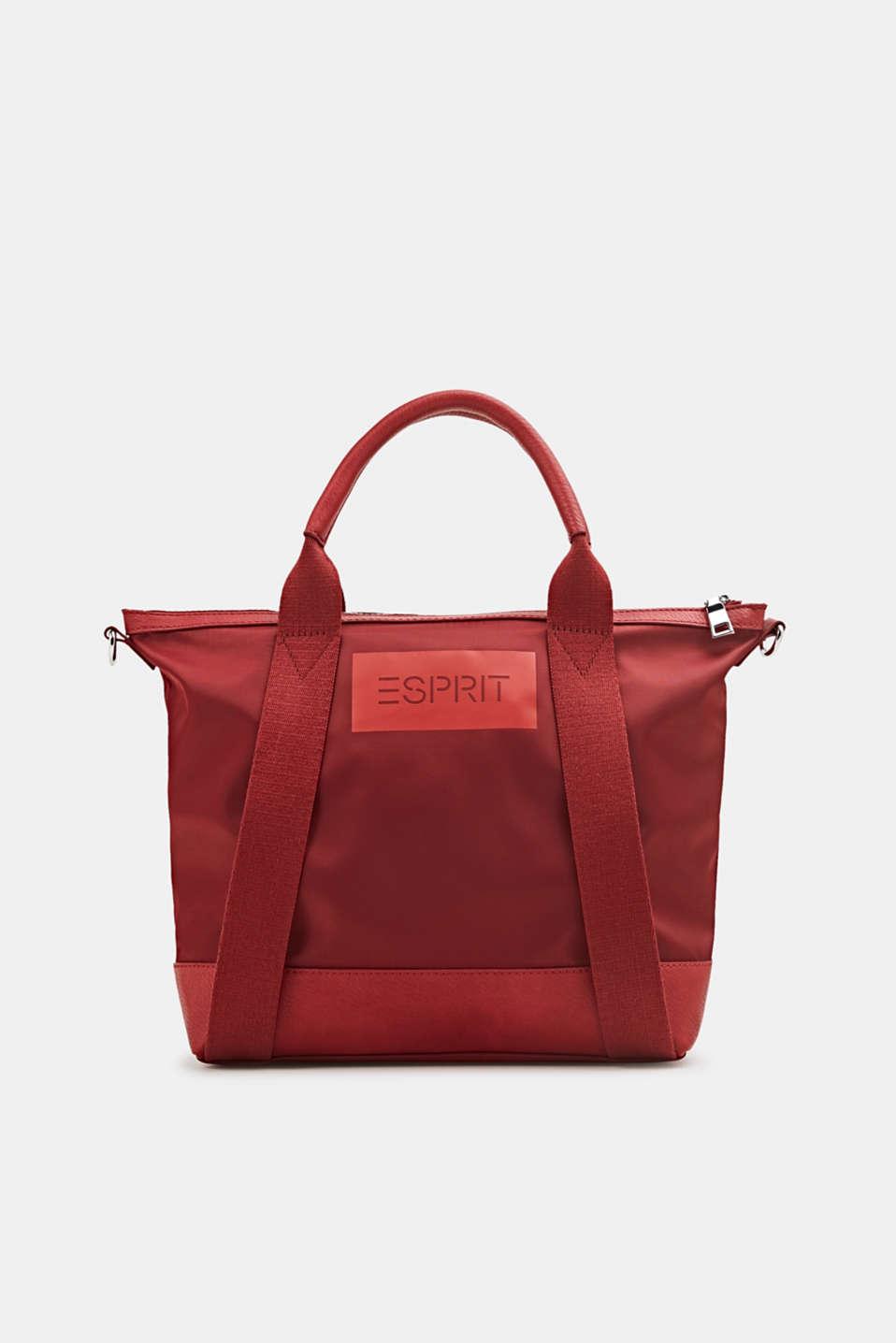 Material mix handbag, RED, detail image number 0