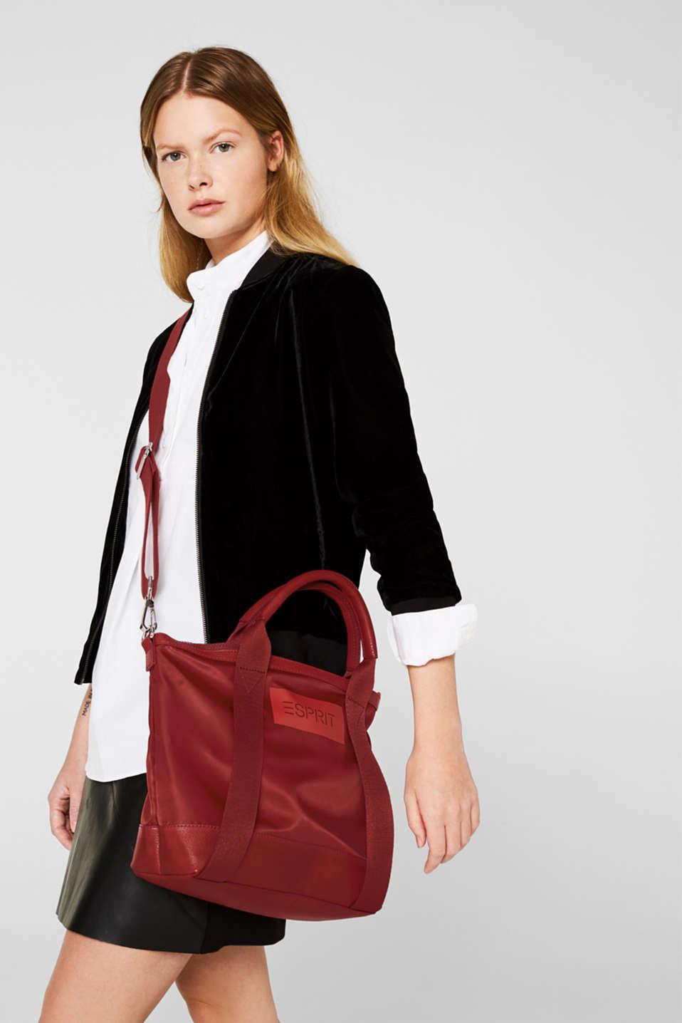 Material mix handbag, RED, detail image number 1
