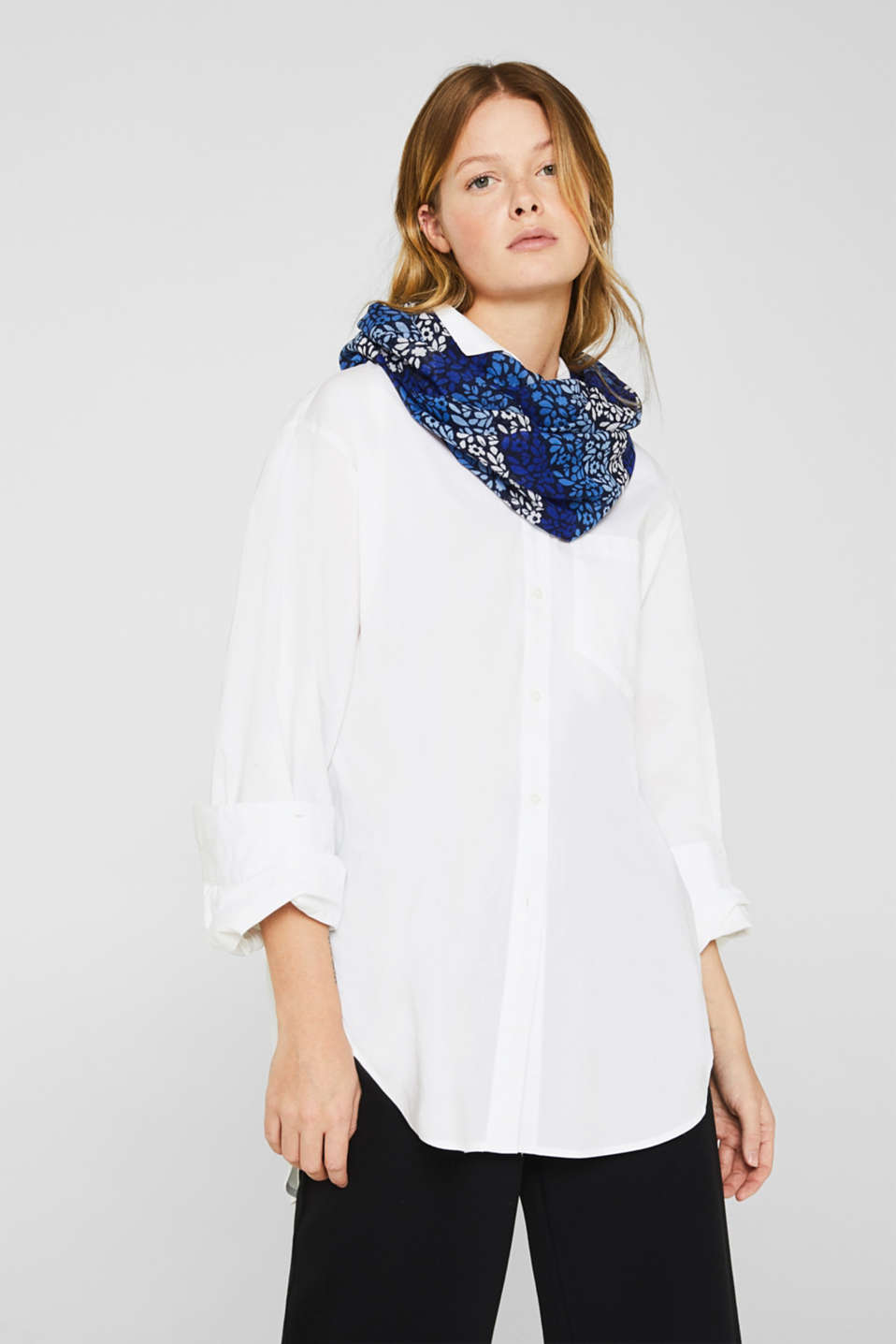 Snood with abstract floral print, NAVY, detail image number 1