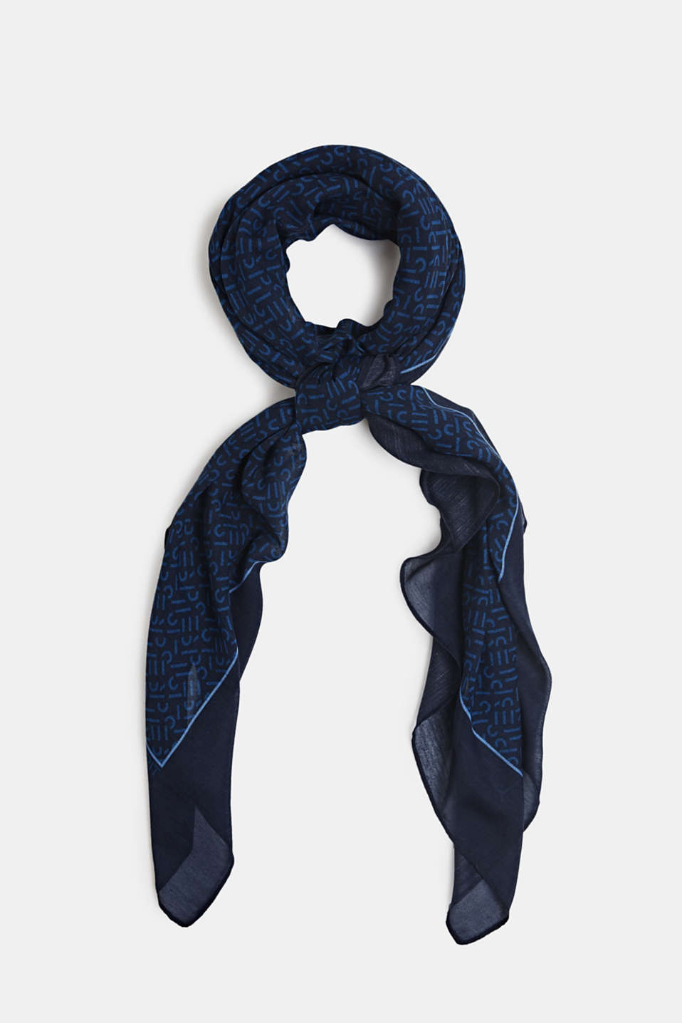 Monogram scarf made of recycled fabric, NAVY 2, detail image number 0