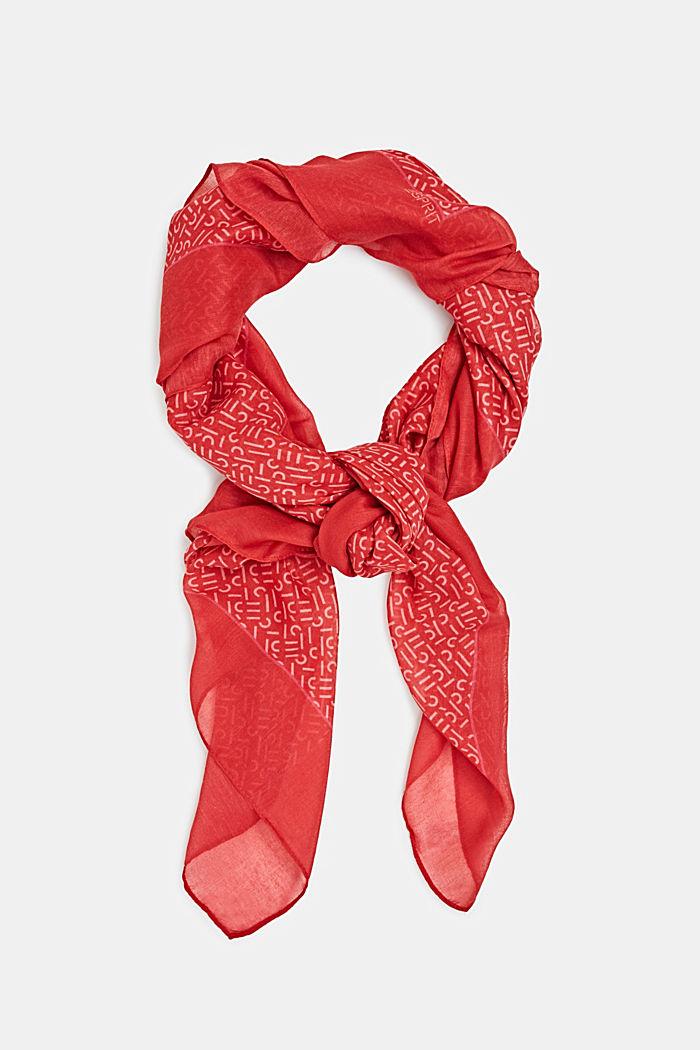 Monogram-scarf av återvunnet material, RED, detail image number 0
