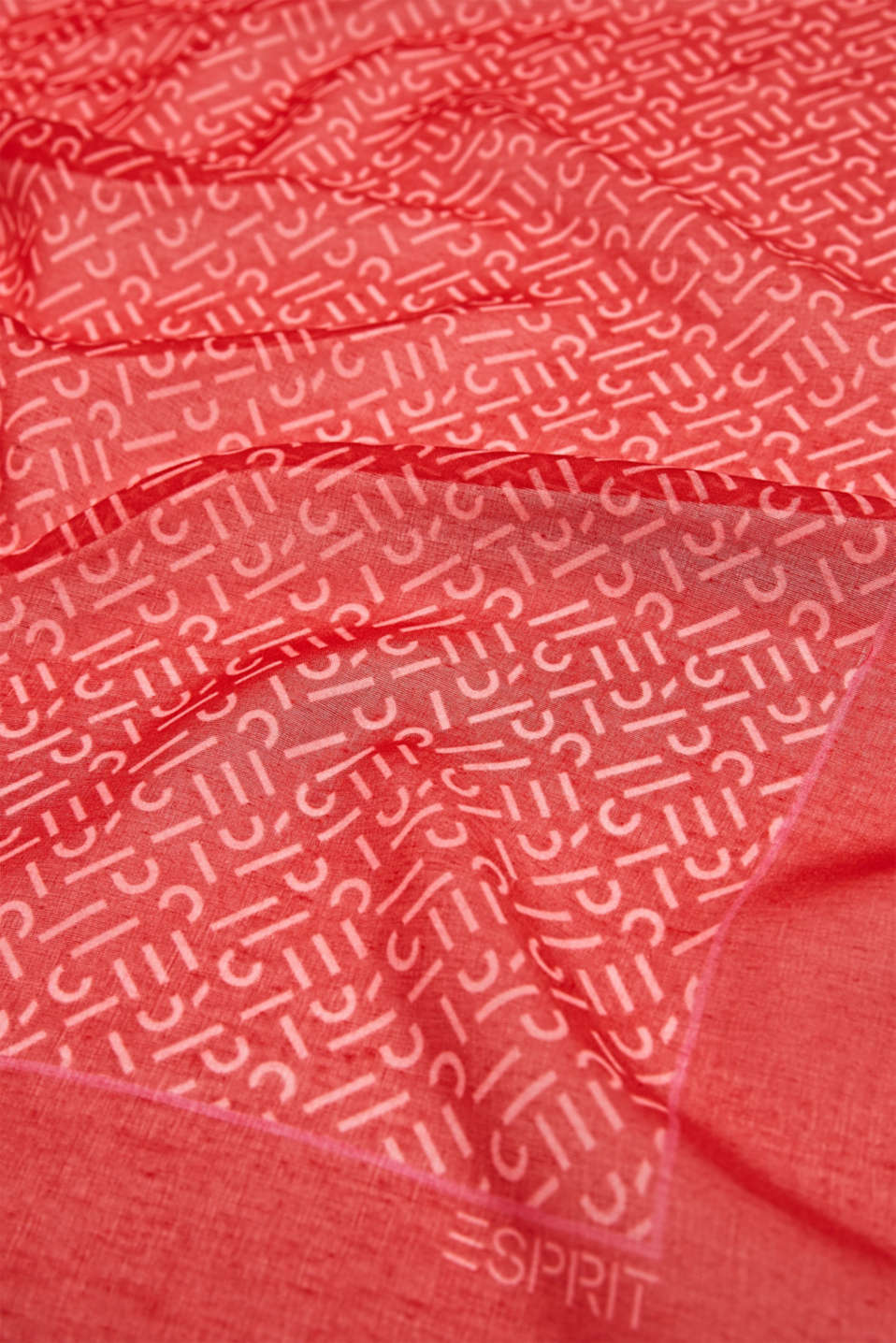 Monogram scarf made of recycled fabric, RED 2, detail image number 2