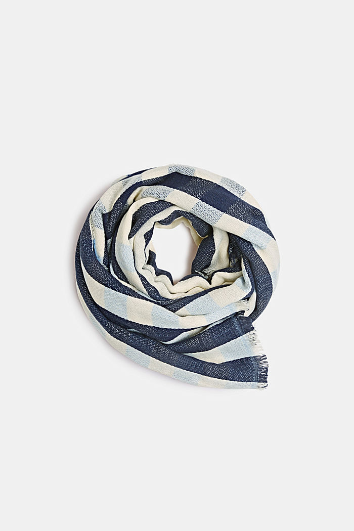 Woven scarf with a checked pattern, NAVY, detail image number 0