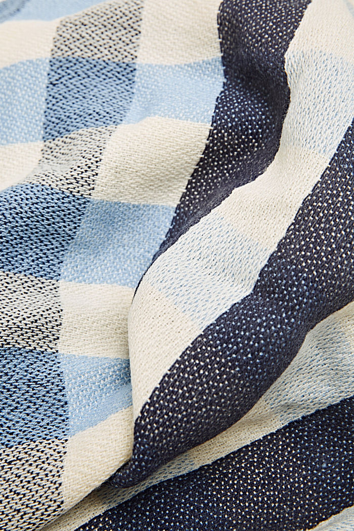 Woven scarf with a checked pattern, NAVY, detail image number 2