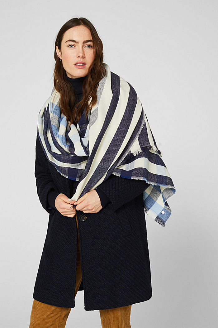 Woven scarf with a checked pattern, NAVY, detail image number 1