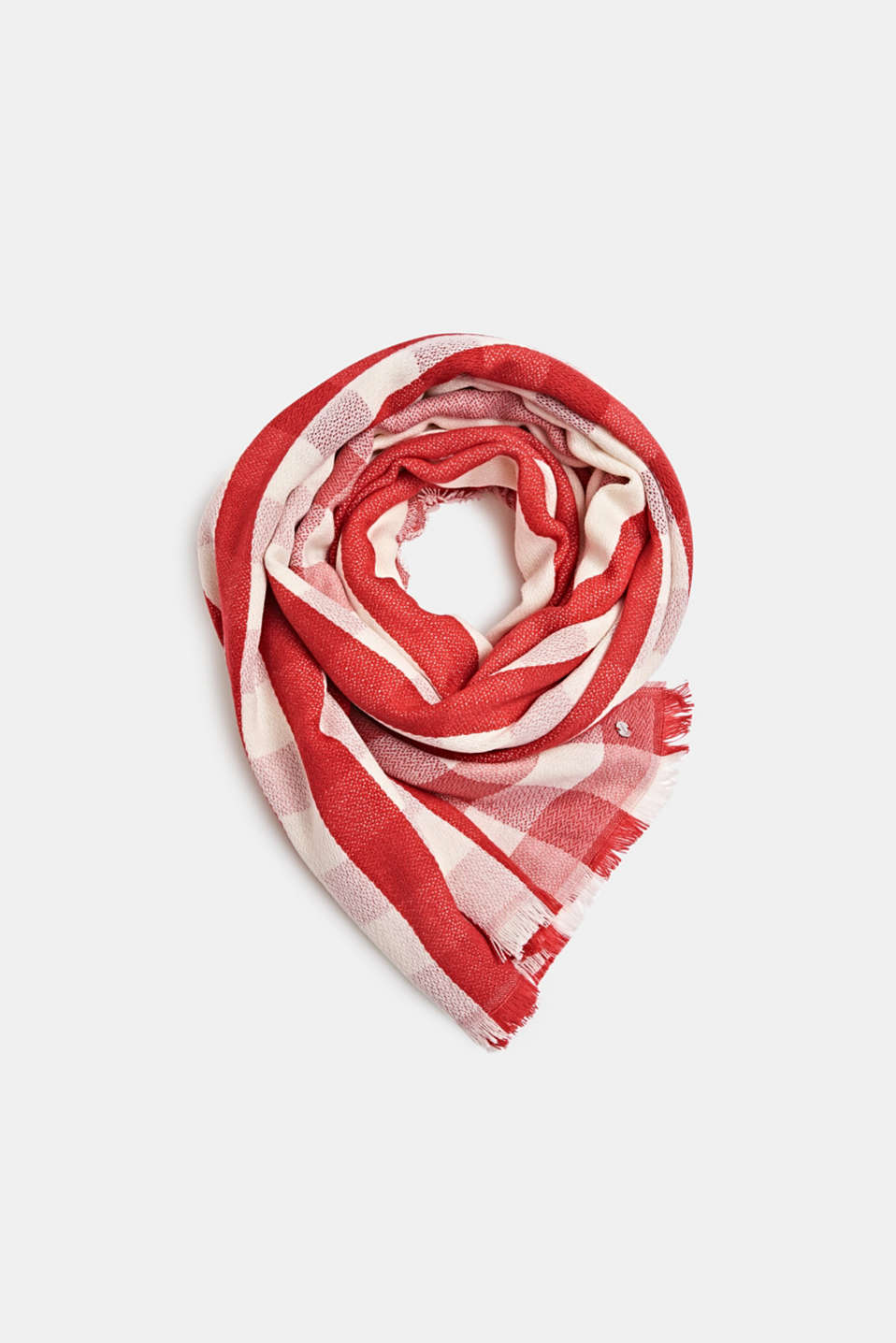 Woven scarf with a checked pattern, RED, detail image number 0