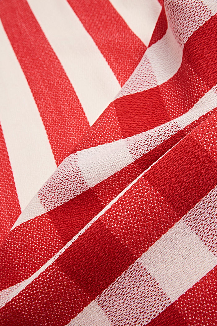 Woven scarf with a checked pattern, RED, detail image number 2