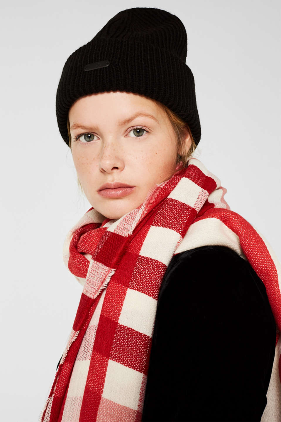 Woven scarf with a checked pattern, RED, detail image number 1