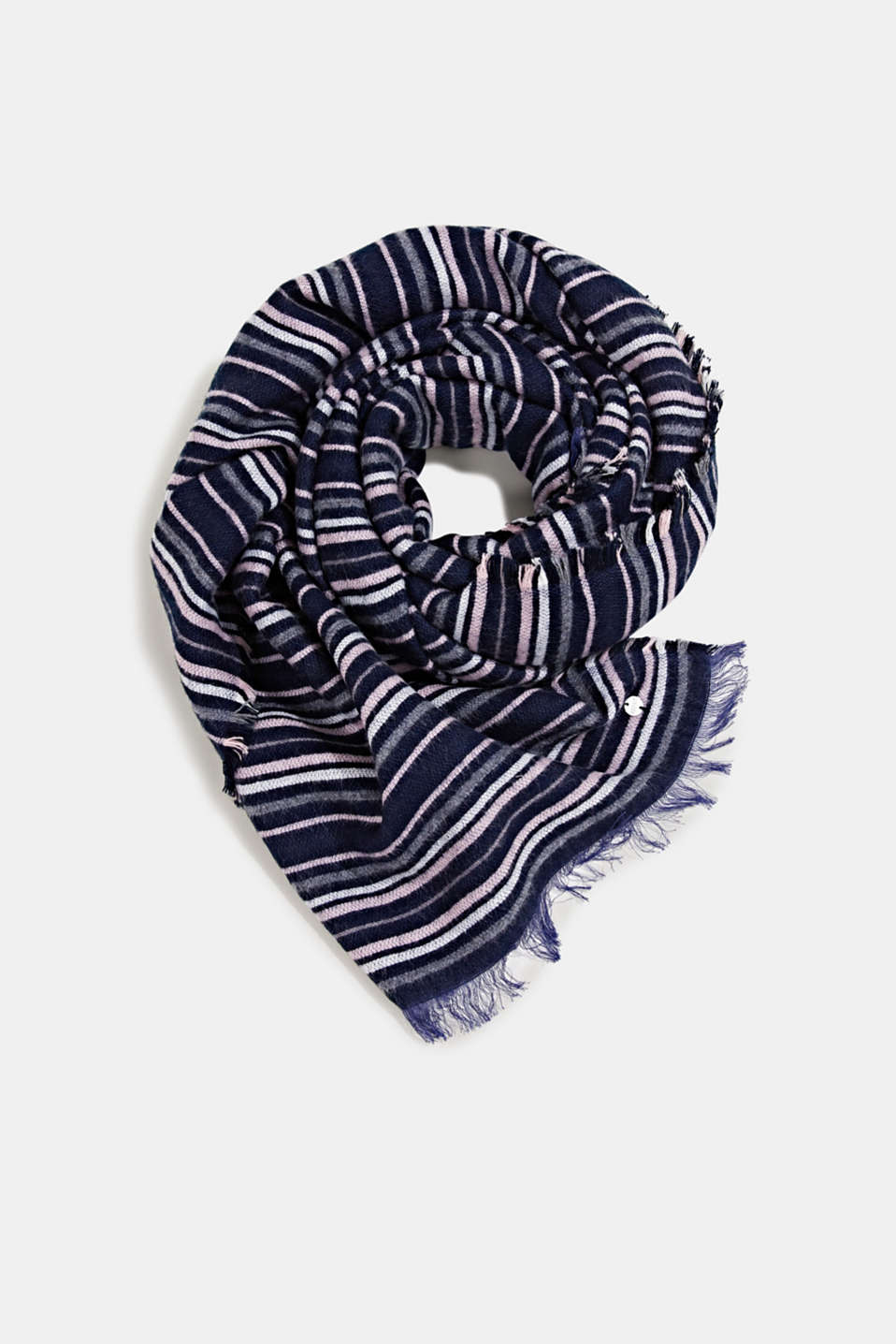 Scarf with stripes, NAVY, detail image number 0