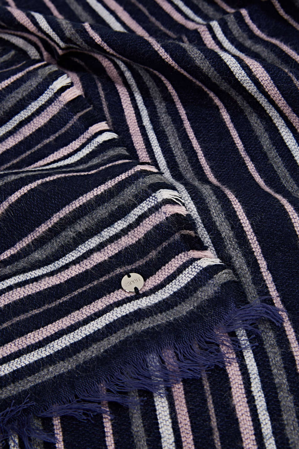 Scarf with stripes, NAVY, detail image number 2