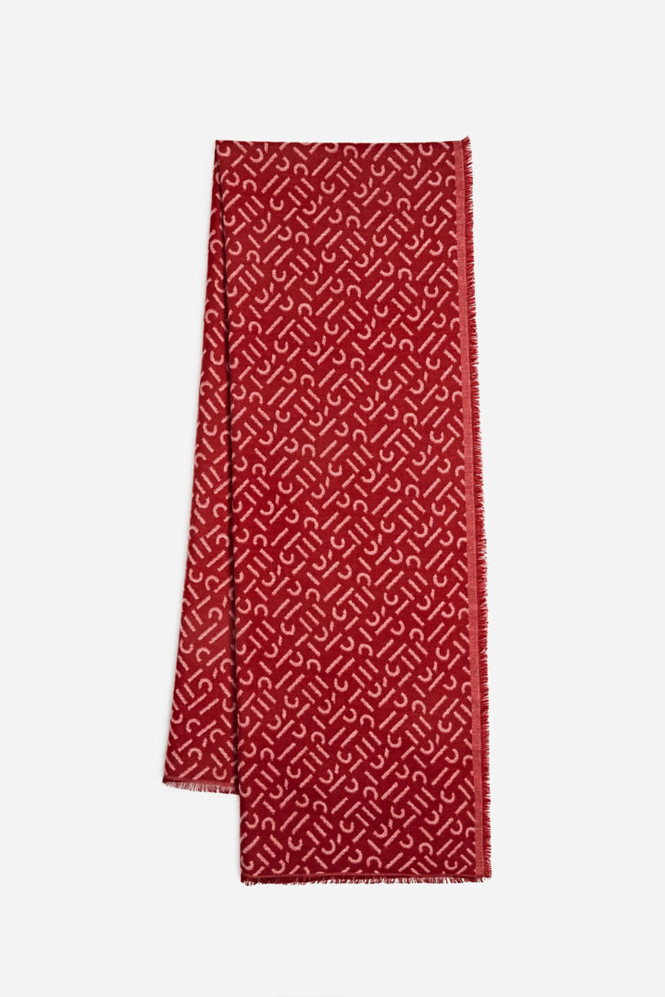 Woven scarf with LENZING™ ECOVERO, DARK RED, detail image number 0