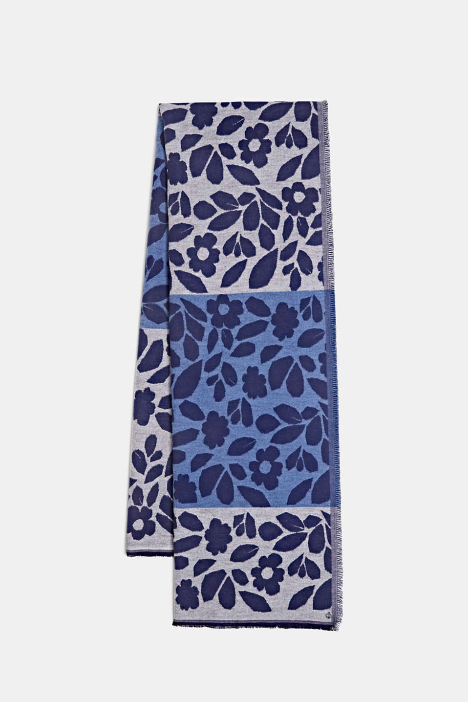 Esprit - Block stripe scarf with jacquard flowers