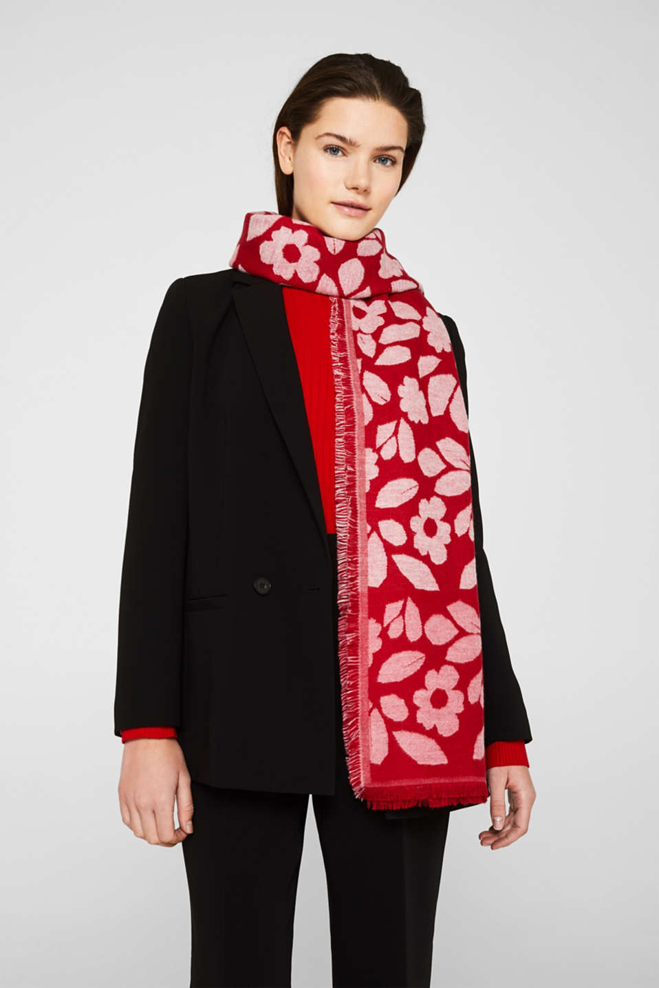 Block stripe scarf with jacquard flowers, DARK RED, detail image number 1