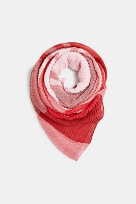 Pleated scarf with a check design, RED, detail