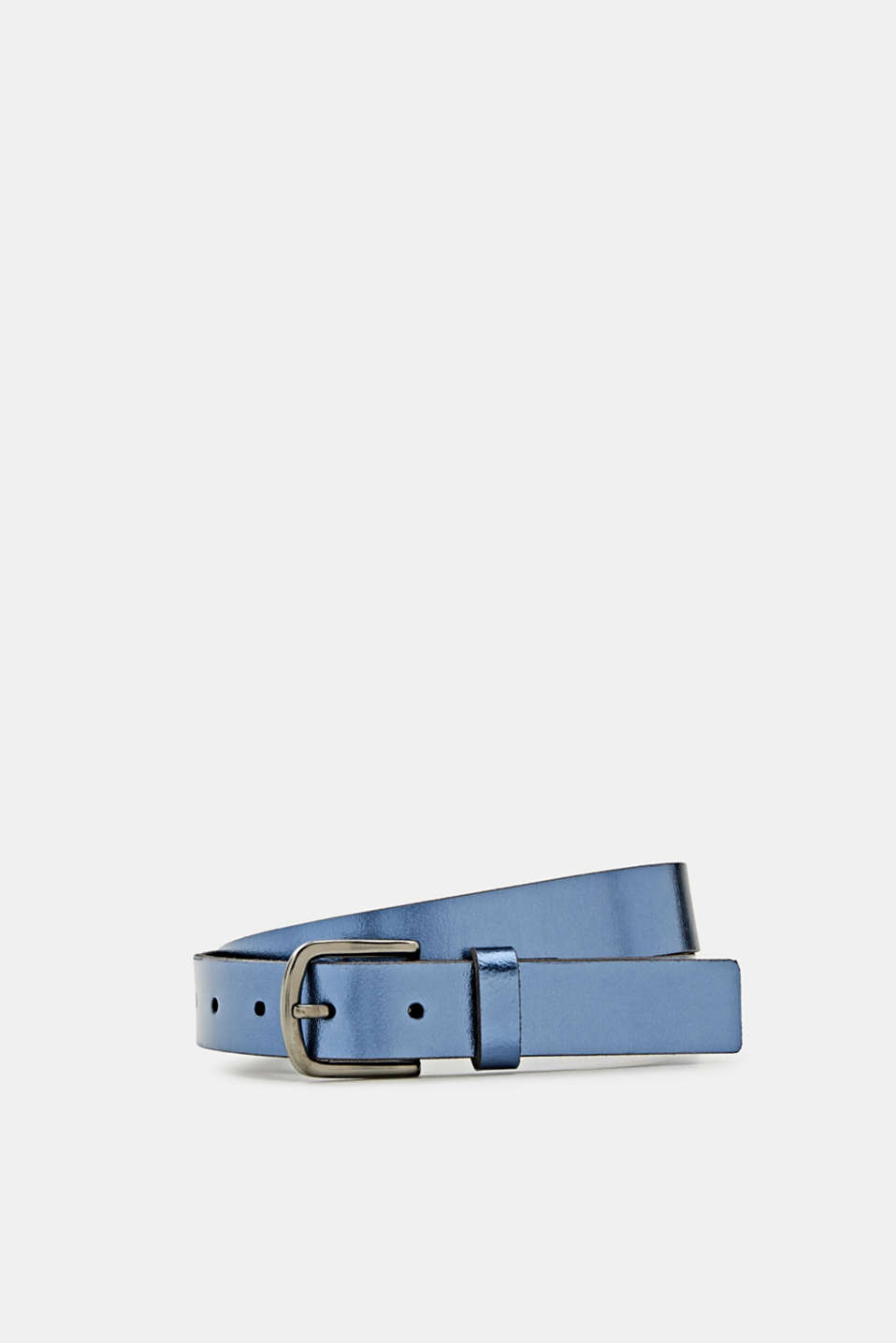 Esprit - Made of leather: belt in a metallic look