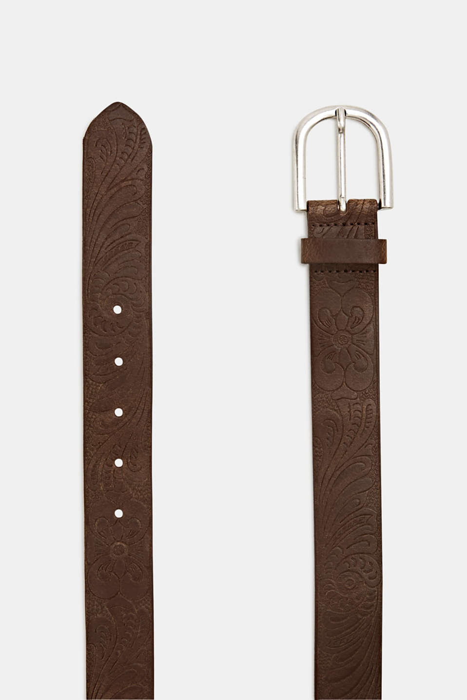 Made of leather: belt with floral embossing, RUST BROWN, detail image number 1