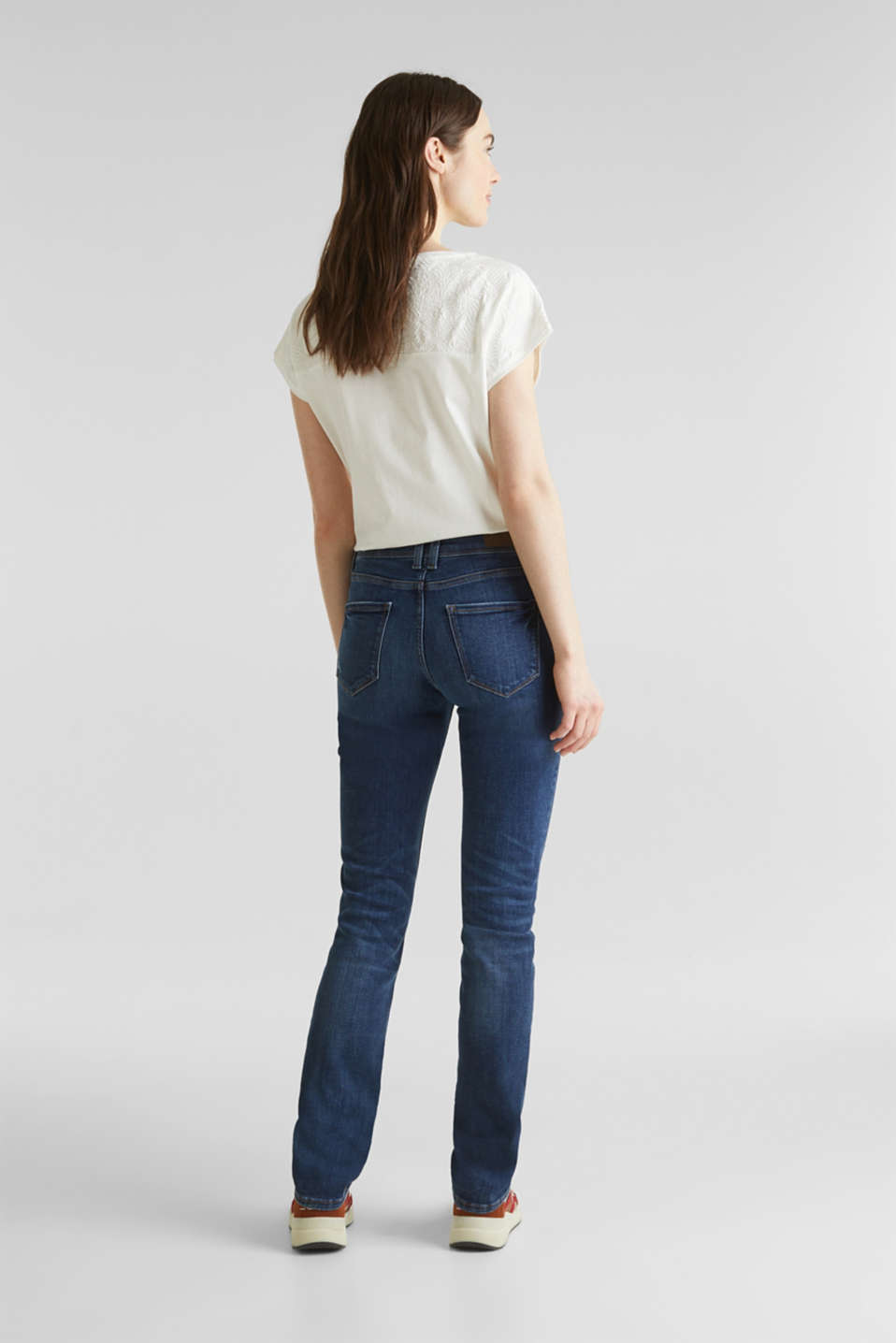 Stretch jeans in new fabric, BLUE DARK WASH, detail image number 3