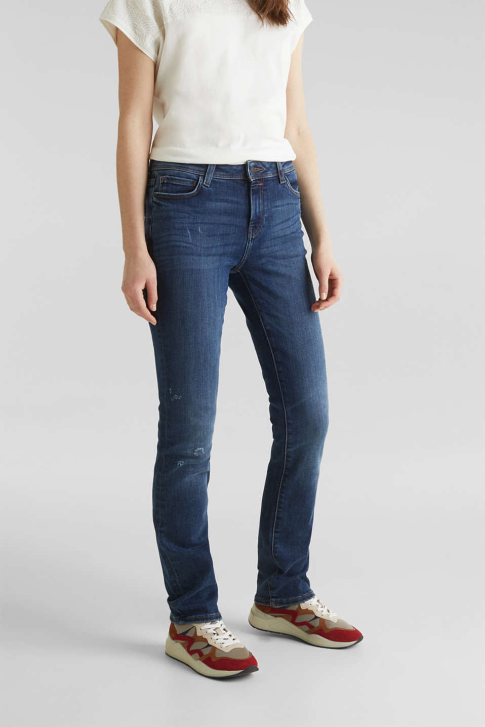 Stretch jeans in new fabric, BLUE DARK WASH, detail image number 6