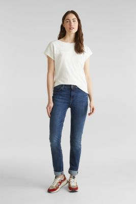 Stretch jeans in new fabric, BLUE DARK WASH, detail
