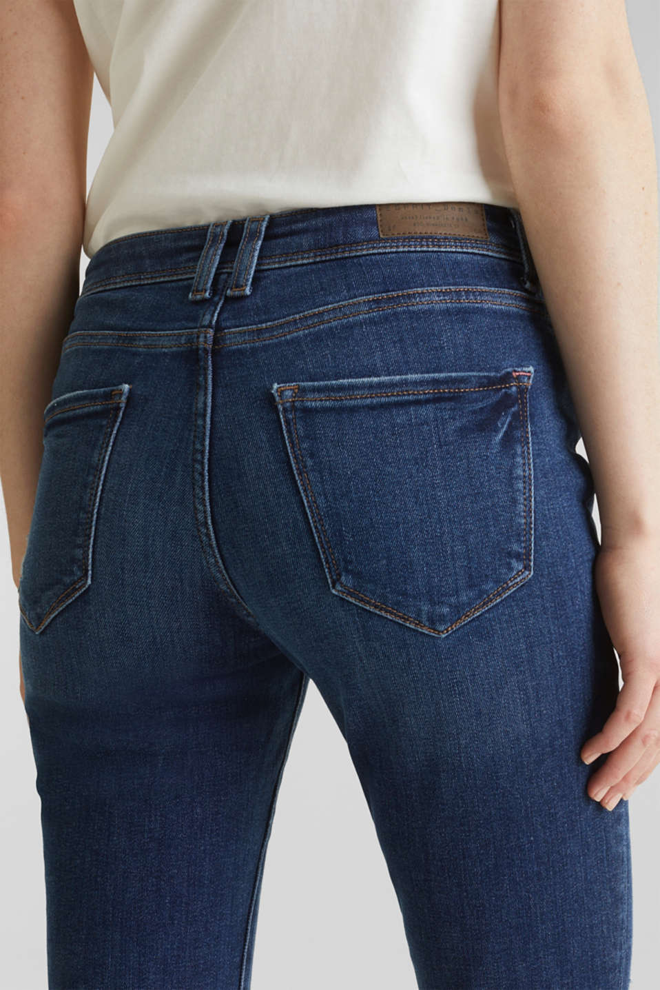 Stretch jeans in new fabric, BLUE DARK WASH, detail image number 5