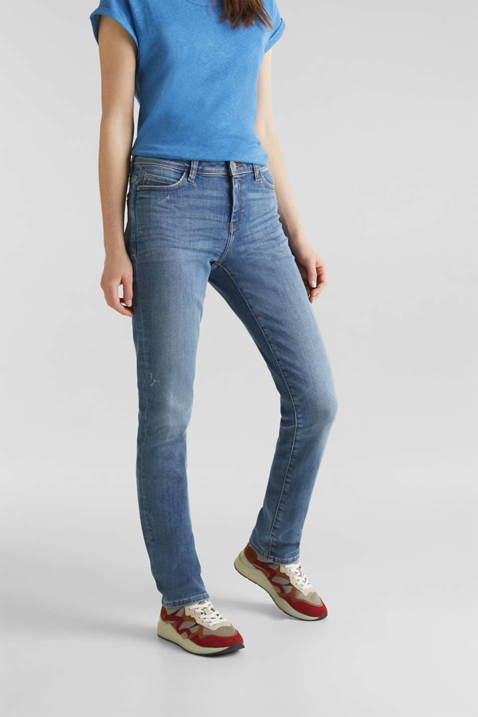 Stretch jeans in new fabric, BLUE MEDIUM WASH, detail image number 0