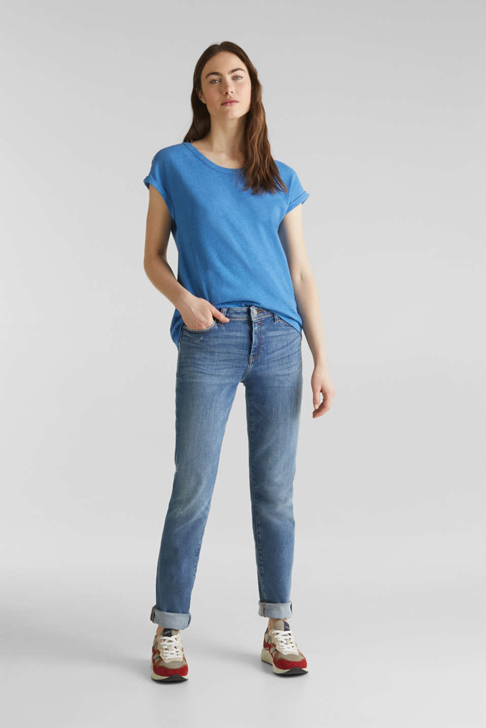 Stretch jeans in new fabric, BLUE MEDIUM WASH, detail image number 1