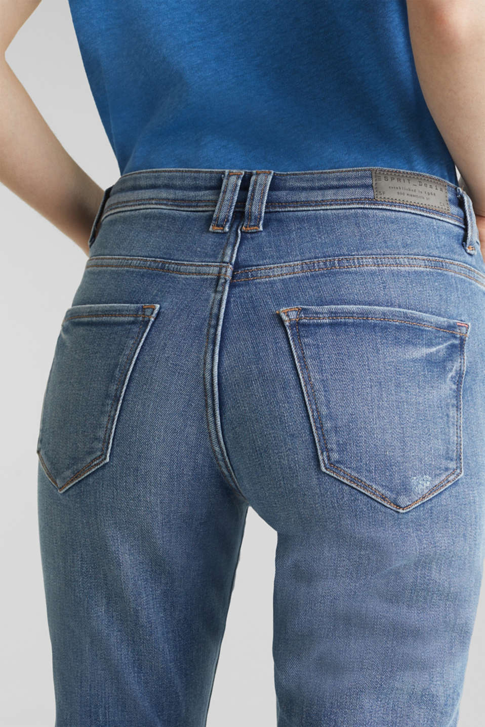 Stretch jeans in new fabric, BLUE MEDIUM WASH, detail image number 5