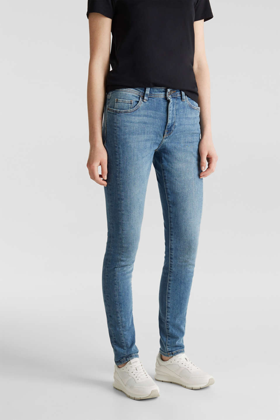 Skinny jeans with decorative seams, BLUE MEDIUM WASH, detail image number 0