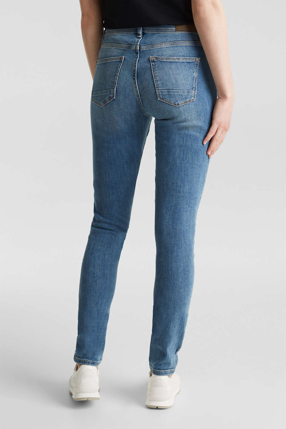 Skinny jeans with decorative seams, BLUE MEDIUM WASH, detail image number 3