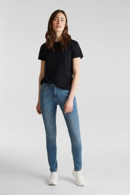 Skinny jeans with decorative seams, BLUE MEDIUM WASH, detail