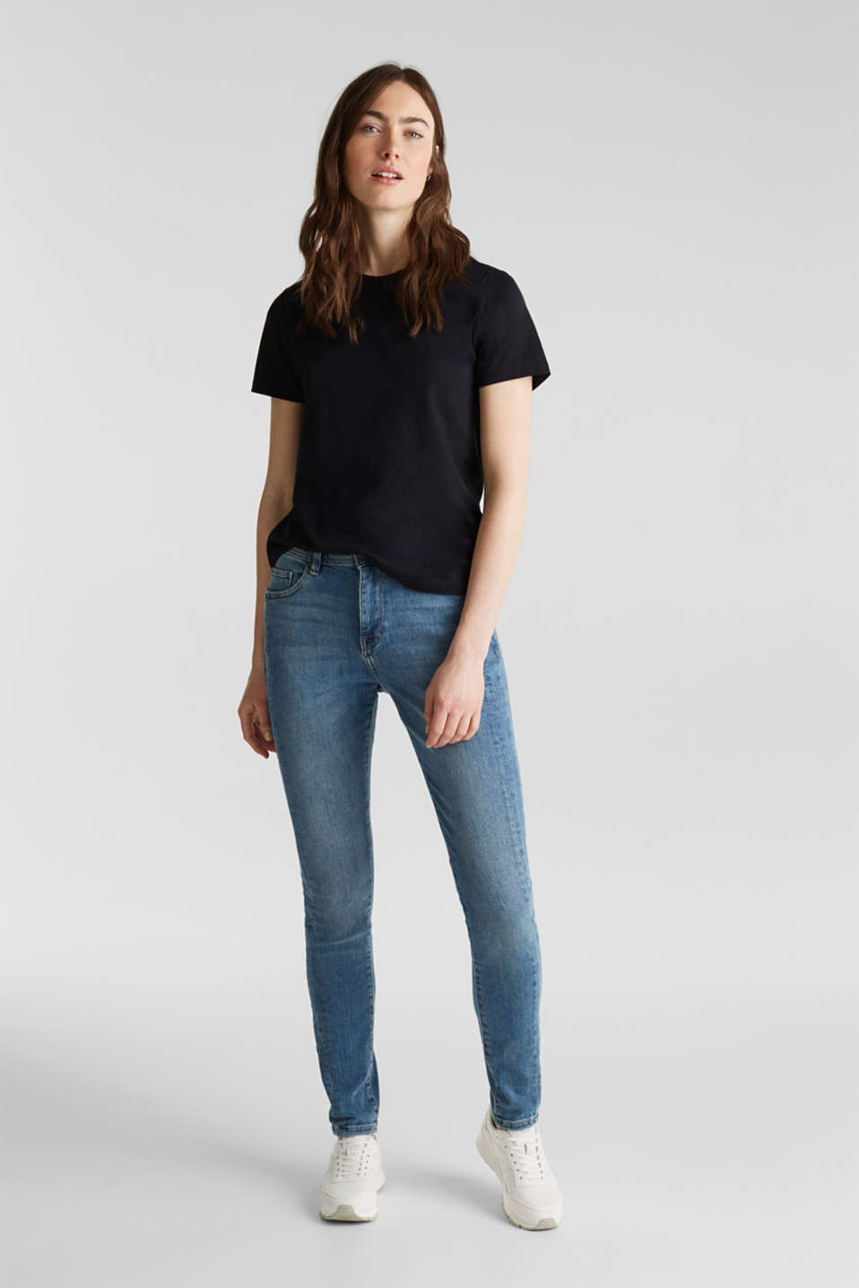 Skinny jeans with decorative seams, BLUE MEDIUM WASH, detail image number 1