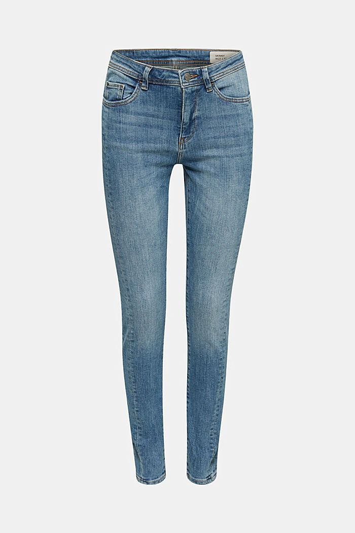 Skinny jeans met siernaden, BLUE MEDIUM WASHED, detail image number 0