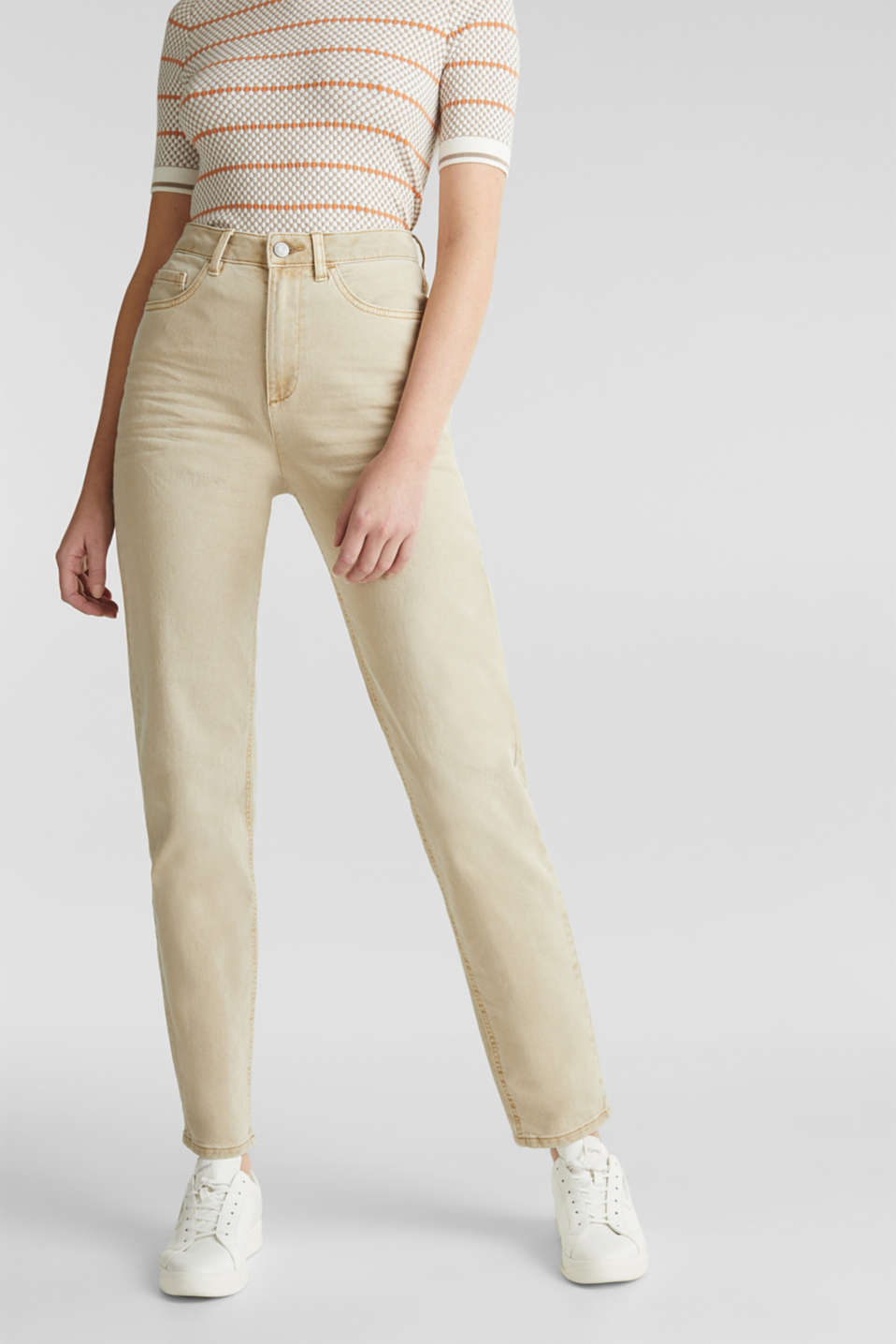 Stretch trousers with a fashionable fit, BEIGE, detail image number 6