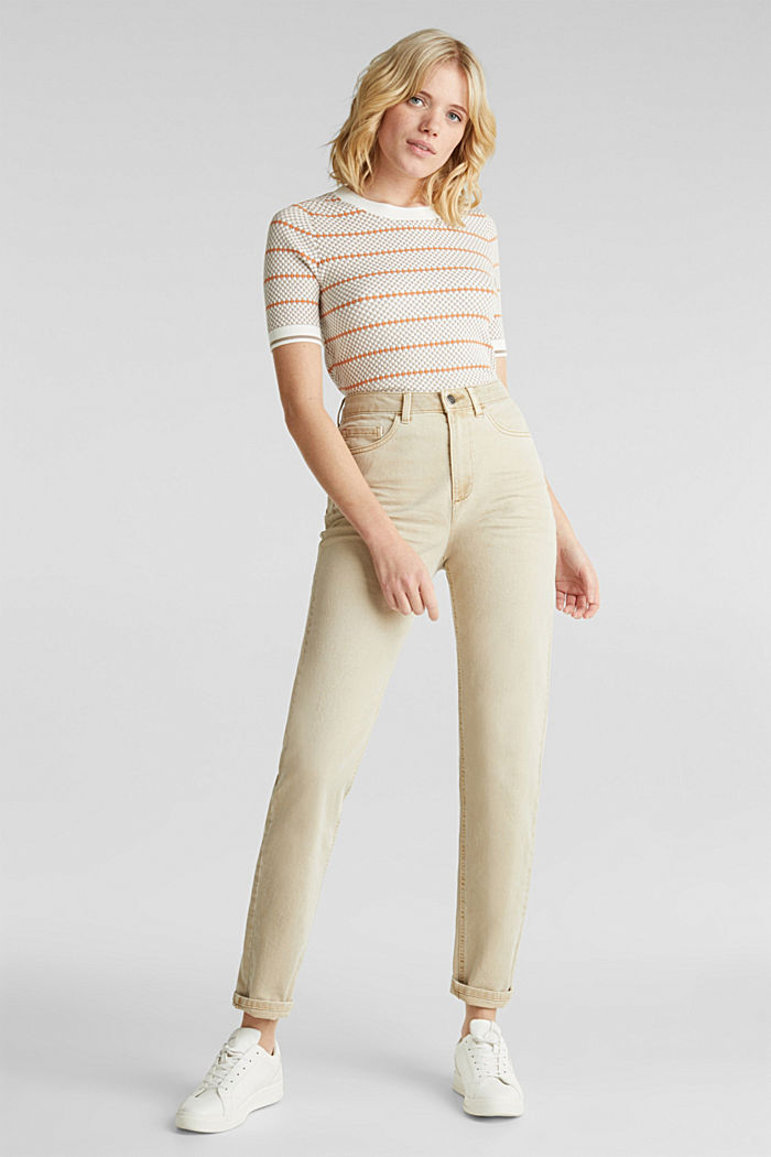Stretch trousers with a fashionable fit, BEIGE, detail image number 1